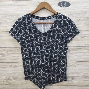 Loft Black W/ White & Teal Pattern Short Sleeve